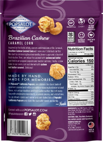 Popsalot Brazilian Cashew Caramel Corn Perspective: back
