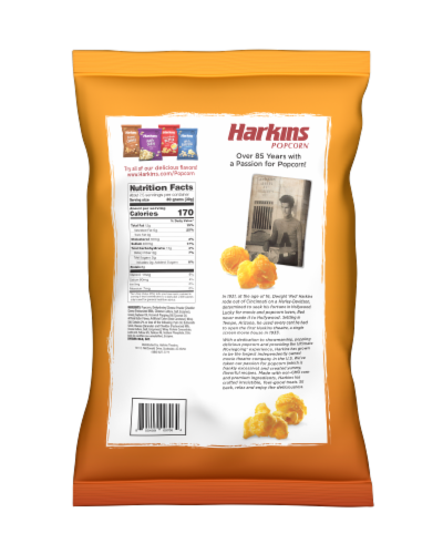 Harkins Popcorn Cheddar Cheese Perspective: back