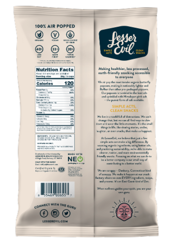 LesserEvil Organic Himalayan Gold Popcorn Perspective: back