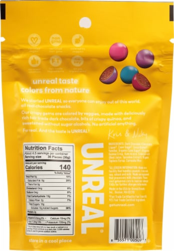 Unreal® Dark Vegan Chocolate Crispy Quinoa Gems Perspective: back
