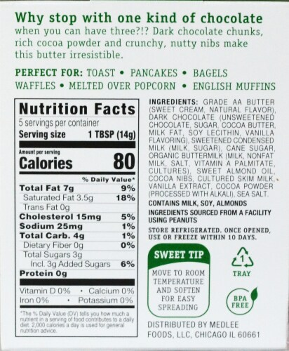 Medlee Foods Triple Chocolate Sweet Butter Spread Perspective: back