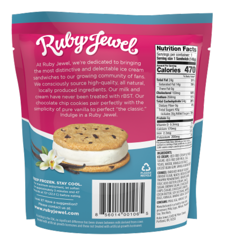 Ruby Jewel Chocolate Chip Cookie + Vanilla Bean Ice Cream Sandwich Perspective: back