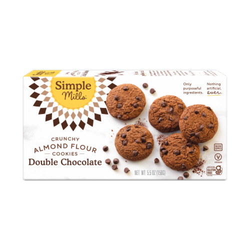 Simple Mills Crunchy Double Chocolate Almond Flour Cookies Perspective: back