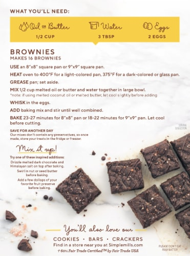 Simple Mills Fair Trade Almond Flour Brownie Mix Perspective: back