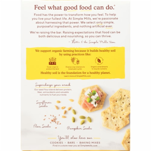 Simple Mills Organic Seed Flour Crackers - Garlic & Herb Perspective: back