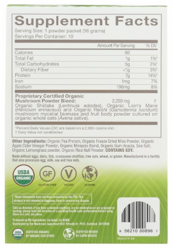 Om Mushroom Mighty Veggie Miso Broth Packets 10 Count Perspective: back