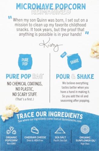 Quinn White Cheddar & Sea Salt Microwave Popcorn Perspective: back