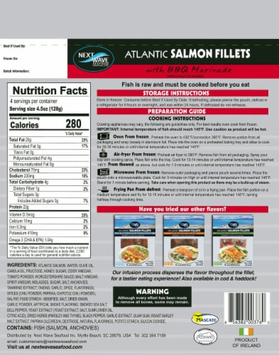 Next Wave Seafood Salmon Fillets with BBQ Marinade Perspective: back