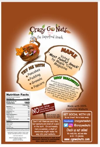 Crazy Go Nuts All-Natural Maple Gourmet Walnuts Perspective: back