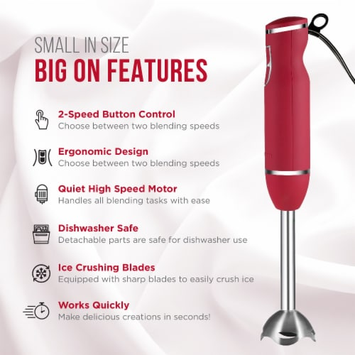 Chefman 300 Watt 2 Speed Immersion Blender - Red/Silver Perspective: back