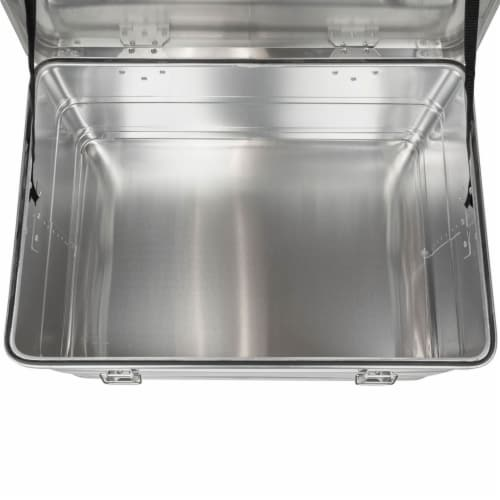 Swiss Link Custom Industrial Aluminum Lidded Storage Box for Tools, Small Silver Perspective: back