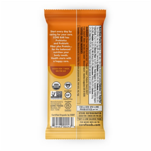 CORE Organic Refrigerated Plant-Based Protein Immunity Bar with Probiotics - Peanut Butter Crunch Perspective: back