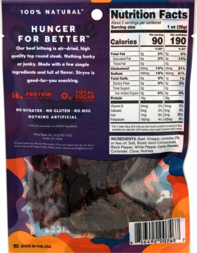 Stryve Original Beef Biltong Air-Dried Beef Slices Perspective: back