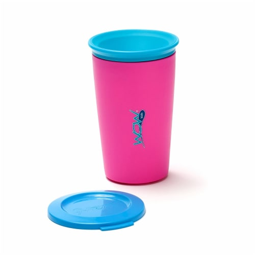 Wow Cup for Kids Original 360 Sippy Cup, Pink with Blue Lid, 9 oz Perspective: back