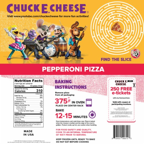 Chuck E. Cheese Pepperoni Frozen Pizza Perspective: back