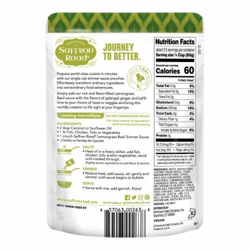 Saffron Road® Gluten-Free Lemongrass Basil Simmer Sauce Perspective: back