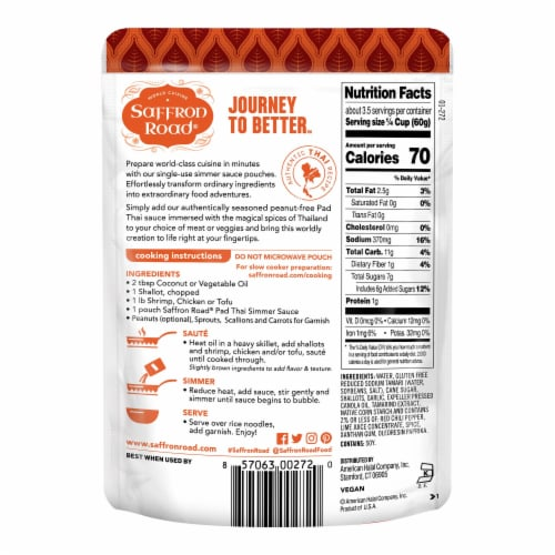 Saffron Road Pad Thai Simmer Sauce Perspective: back