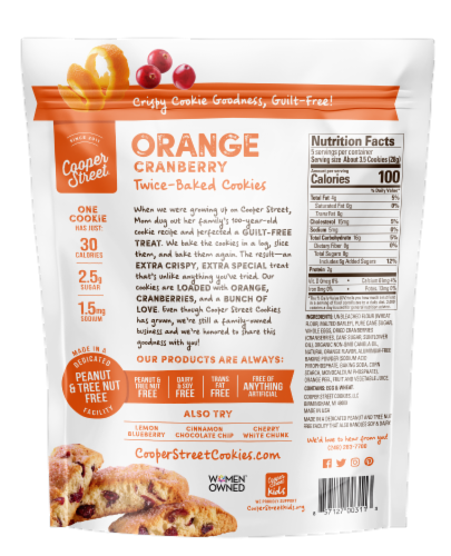Cooper Street Orange Cranberry Twice Baked Cookies Perspective: back