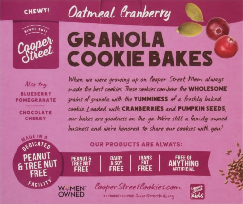 Cooper Street Oatmeal Cranberry Granola Cookie Bakes Perspective: back