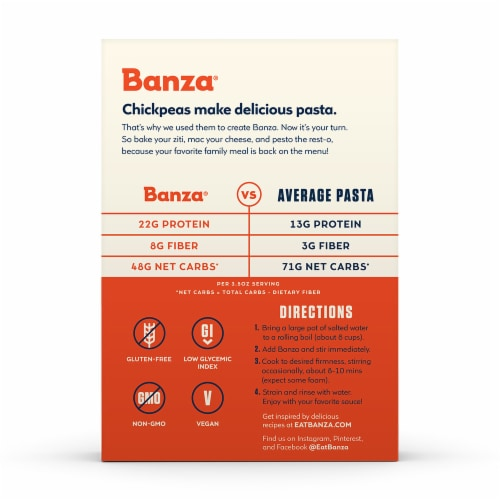 Banza Chickpea Penne Pasta Perspective: back