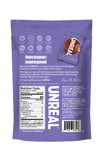 Unreal® Dark Chocolate Almond Butter Cups Perspective: back