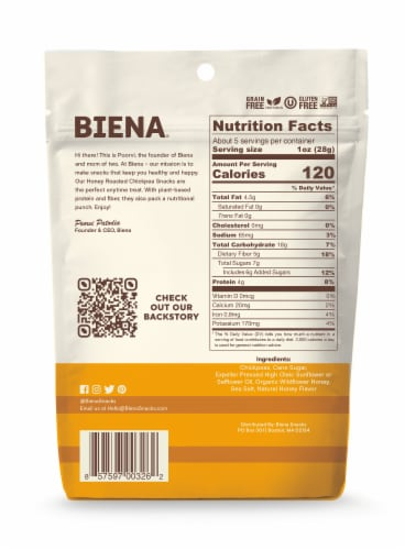 Biena Honey Roasted Chickpea Snacks Perspective: back