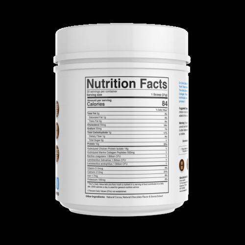 Divine Health Keto Zone Dark Chocolate Hydrolyzed Collagen Protein Powder Perspective: back