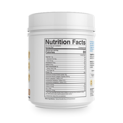 Divine Health Keto Zone French Vanilla Hydrolyzed Collagen + Probiotics Protein Powder Perspective: back