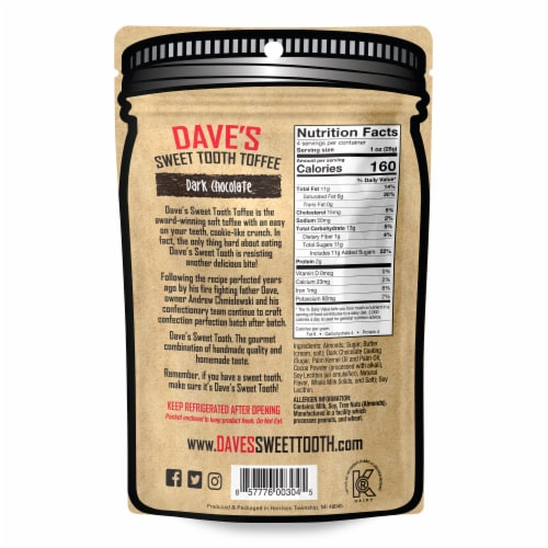 Dave's Sweet Tooth Dark Chocolate Gourmet Soft Toffee Perspective: back