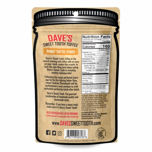 Dave's Sweet Tooth Peanut Butter Crunch Gourmet Soft Toffee Perspective: back