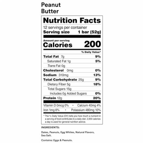 RXBAR Peanut Butter Protein Bars Perspective: back