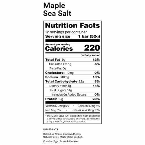 RXBAR Maple Sea Salt Protein Bars Perspective: back