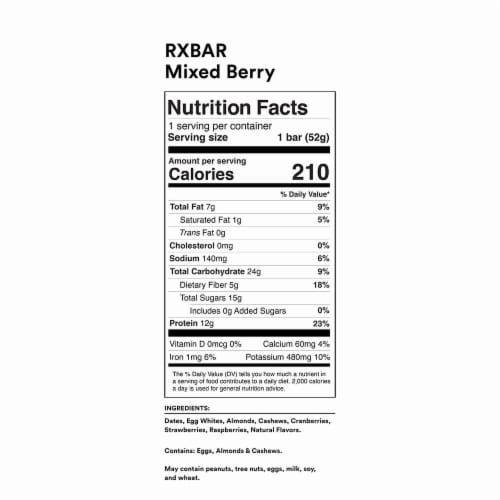 RXBAR Mixed Berry Protein Bar Perspective: back