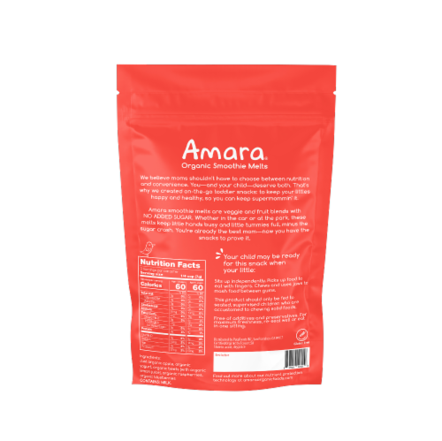 Amara Beets n' Berries Organic Smoothie Melts 6 Count Perspective: back