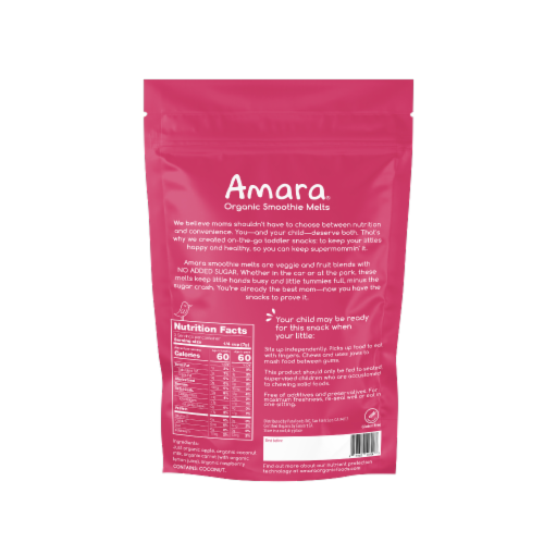 Amara Carrot Rasberry Freeze Dried Smoothie Melts Perspective: back