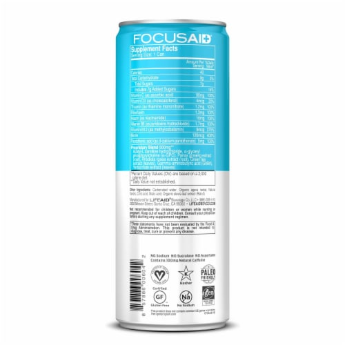 Lifeaid FocusAid Clean Enery Melon Mate Supplement Drink Perspective: back