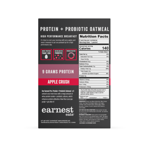 Earnest Eats Apple Crush Protein + Probiotic Instant Oatmeal Perspective: back