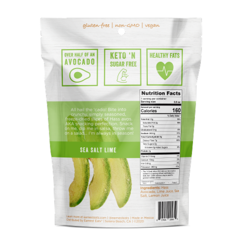 Earnest Eats Dried Avocado Slices - Sea Salt & Lime Perspective: back