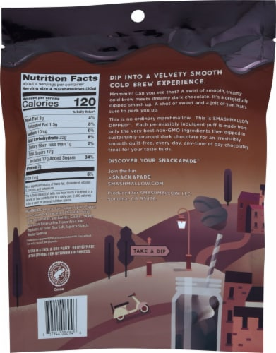 Smashmallow Dipped Dark Chocolate Cold Brew Marshmallow Snack Perspective: back