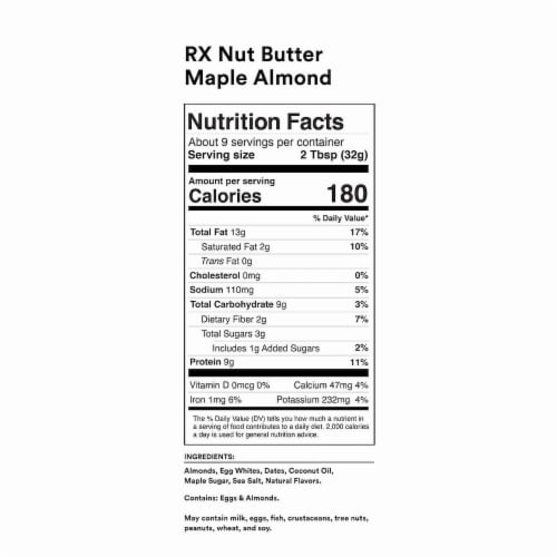RXBar Nut Butter Maple Almond Butter Nut & Protein Spread Perspective: back