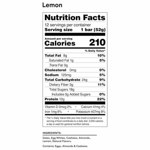 RXBAR Lemon Protein Bars 12 Count Perspective: back