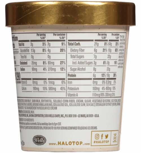Halo Top® Vanilla Bean Light Ice Cream Perspective: back