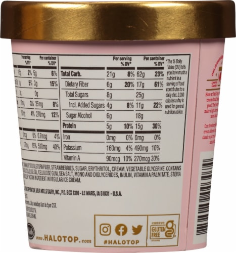 Halo Top Strawberry Light Ice Cream Perspective: back