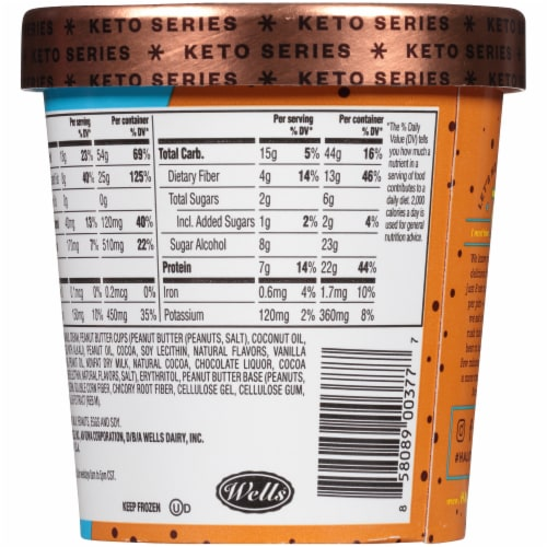 Halo Top Keto Peanut Butter Chocolate Ice Cream Perspective: back