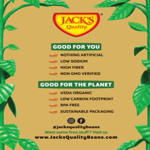 Jack's Quality Beans Organic Low Sodium Pinto Beans Perspective: back