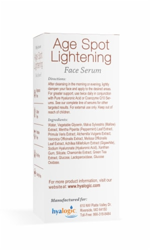 Age Spot Lightening Face Serum with Hyaluronic Acid Perspective: back