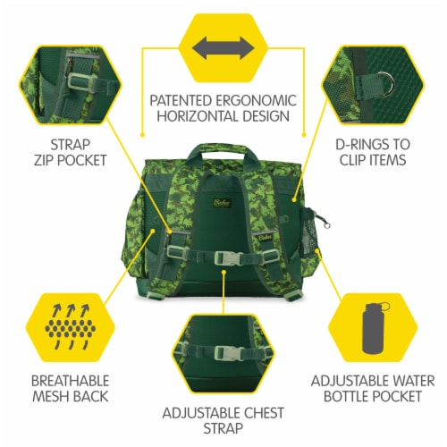 Bixbee Medium Dino Camo Backpack - Green Perspective: back