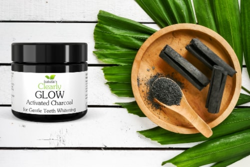 Clearly GLOW Coconut, Teeth Whitening Activated Coconut Charcoal Powder Perspective: back