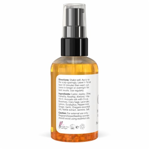 Clearly GAIN+. Hair Growth Oil and Hair Loss Treatment with Garlic Perspective: back