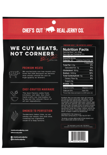 Chef's Cut Smoked Beef Original Recipe Jerky Perspective: back